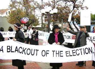 Still from Grassroots: Contesting Ohio, a film by Pam Walton Productiosn (Lytton Plaza-banner)